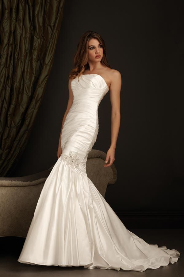 Strapless Fitted Taffeta Mermaid /Trumpet Wedding Dress | dresses ...