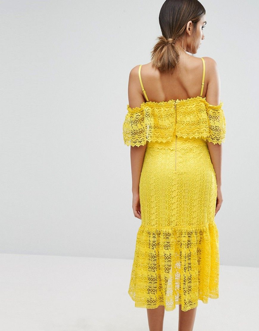 Cold Shoulder Midi Lace Dress - Yellow Three Floor q2kSxQfG1