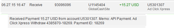 I have been earning and withdrawing daily from ACX. What about you? The more ads packs you purchase you will earn more Traffic Credits and Cash. I wonder I am earning without working.   Here is my 27th June Withdrawal  The amount of 15.27 USD has been deposited to your Perfect Money account. Accounts: U5301307->U1145404. Memo: API Payment. Ad Click Xpress Withdraw 4385870-18269.. Date: 16:47 27.06.15. Batch: 93096096.    http://www.adclickxpress.com/?r=7k83qahtmuvr