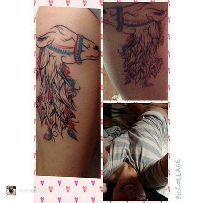 LouJah - Beautiful Pic of Tattoo of my work Llama #tattoos #tatouage #tattooidea #lama #llama #llamatattoo #wild #wildlife #animal #boho #bohostyle #bohemian #ink #tattooed #idea
