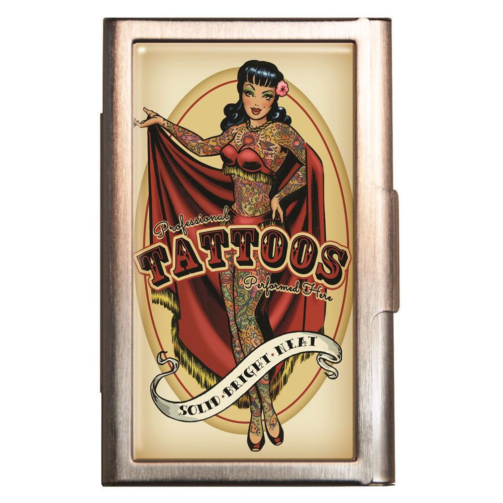 Tattoo Parlor Pin Up Girl ID Case Business Card Holder Wallet ...
