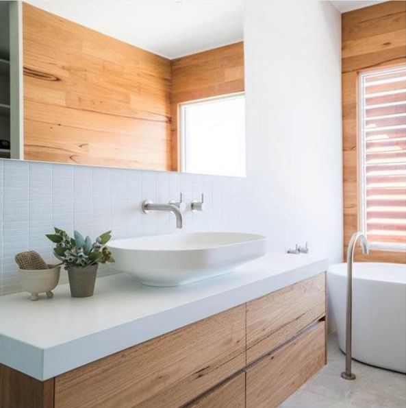 Bathroom Stone Benchtops With Timber Vanitys
