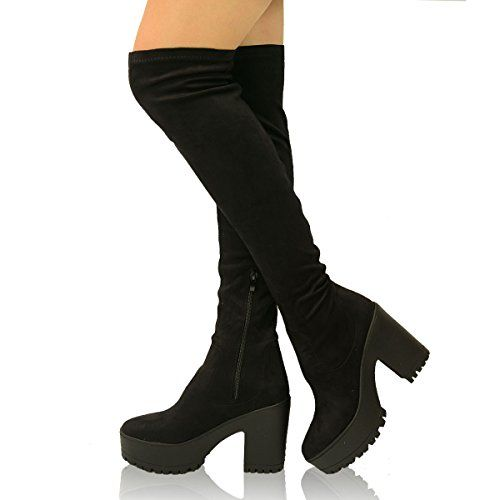 4f313477433c New Womens Ladies Stretch Calf Over the Knee Chunky Boots PU  Suede High Block  Heels