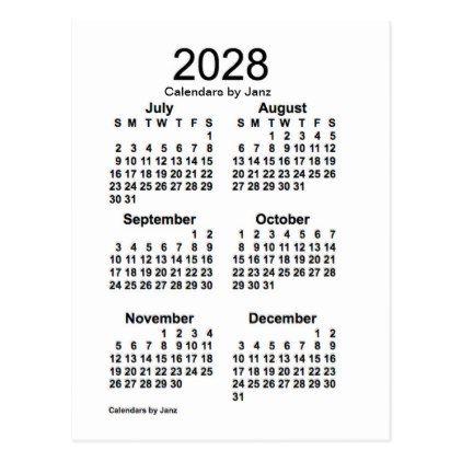2028 White 6 Month Mini Calendar By Janz Postcard