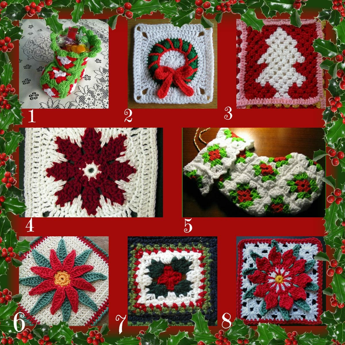 Free crochet Christmas granny square patterns | Granny Squares ...