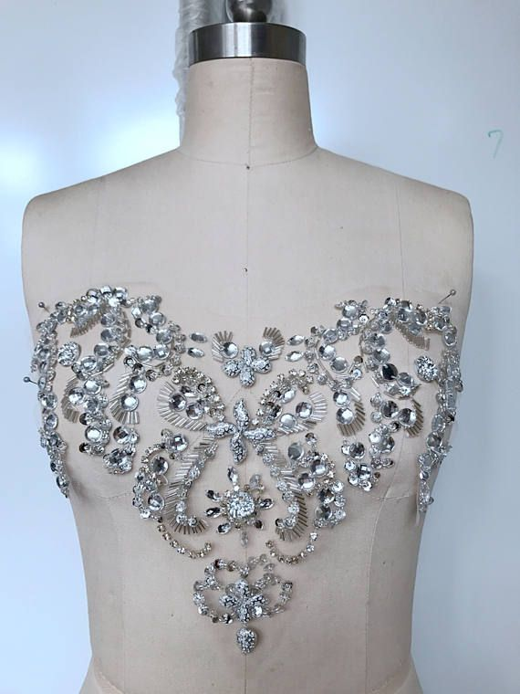Stunning Gold Ab Crystal Rhinestone Applique Sewing Iron On Bridal Patch