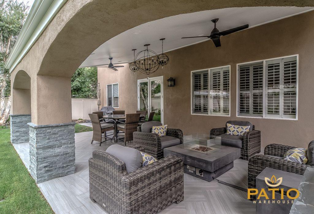 Patio Warehouse Inc. Custom Designed U0026 Built This Outdoor Living Area,  Including Custom Wood Frame Patio Cover With Custom Stucco Arches, Tongue U0026  Groove ...