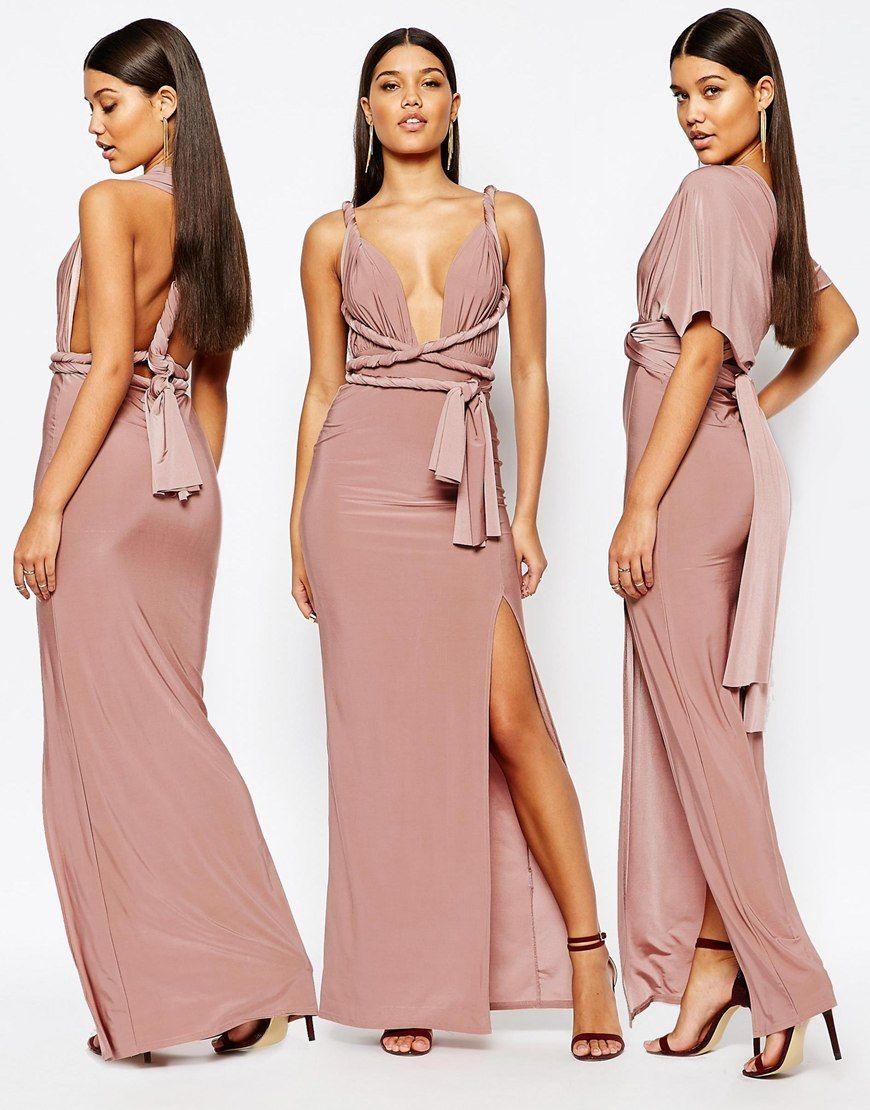 Vestido largo en tejido ajustado con diseño multiposición de ...