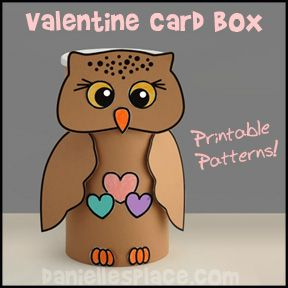 Valentines Day Card Holder Craft  Owl Valentine Box made from an
