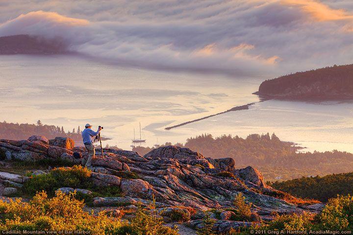 Acadia National Park photo taken at sunrise from Cadillac Mountain