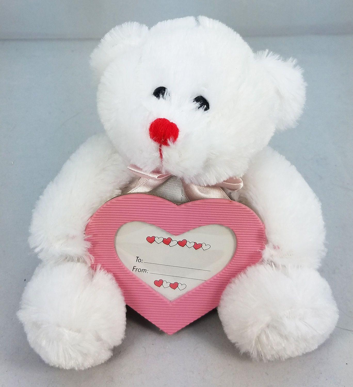 Teddybears Teddy Bears 8 White Teddy Bear Holding Pink Heart