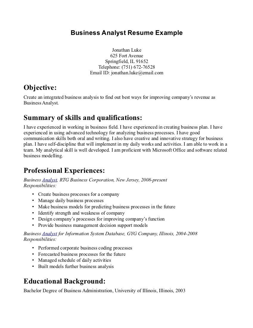 business resume objectives