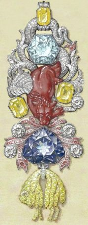 Detailed gouache of the recreated great Golden Fleece of King Louis XV of France. Below the 107 carats (21 g) spinel Côte de Bretagne hangs the French Blue diamond (later cut down to the Hope Diamond) and the fleece itself, set with hundreds of yellow diamonds.