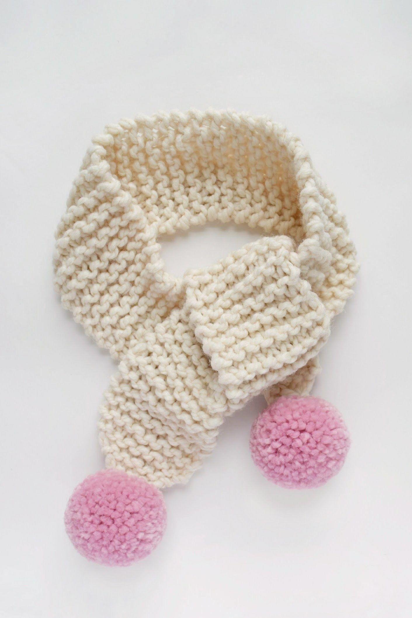 Knit Pom Pom Scarf Pattern - for Kiddos | Kids knitting ...