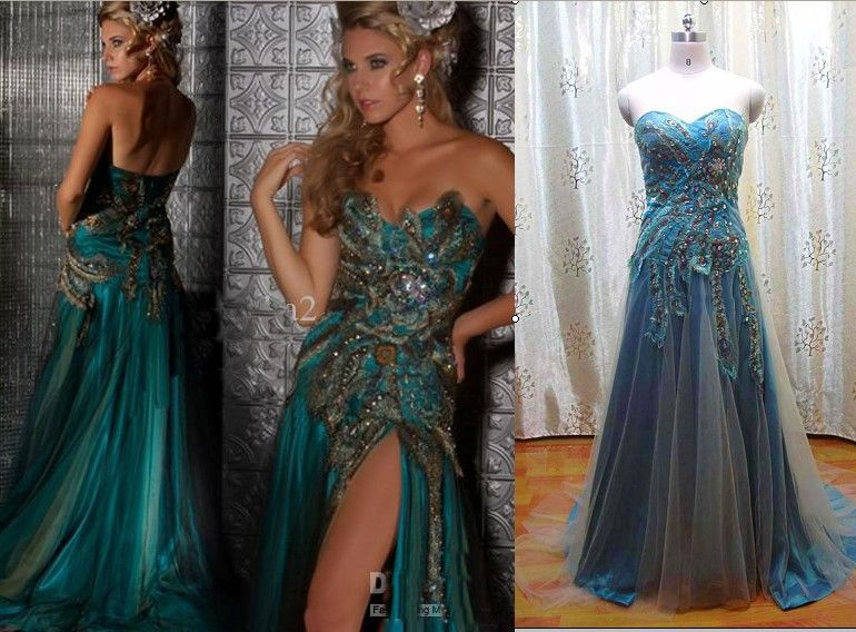 Peacock Blue Prom Dress - Ocodea.com
