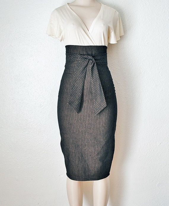 High Waist Pencil Skirt Womens Clothing in Black & Gold Pinstripe ...