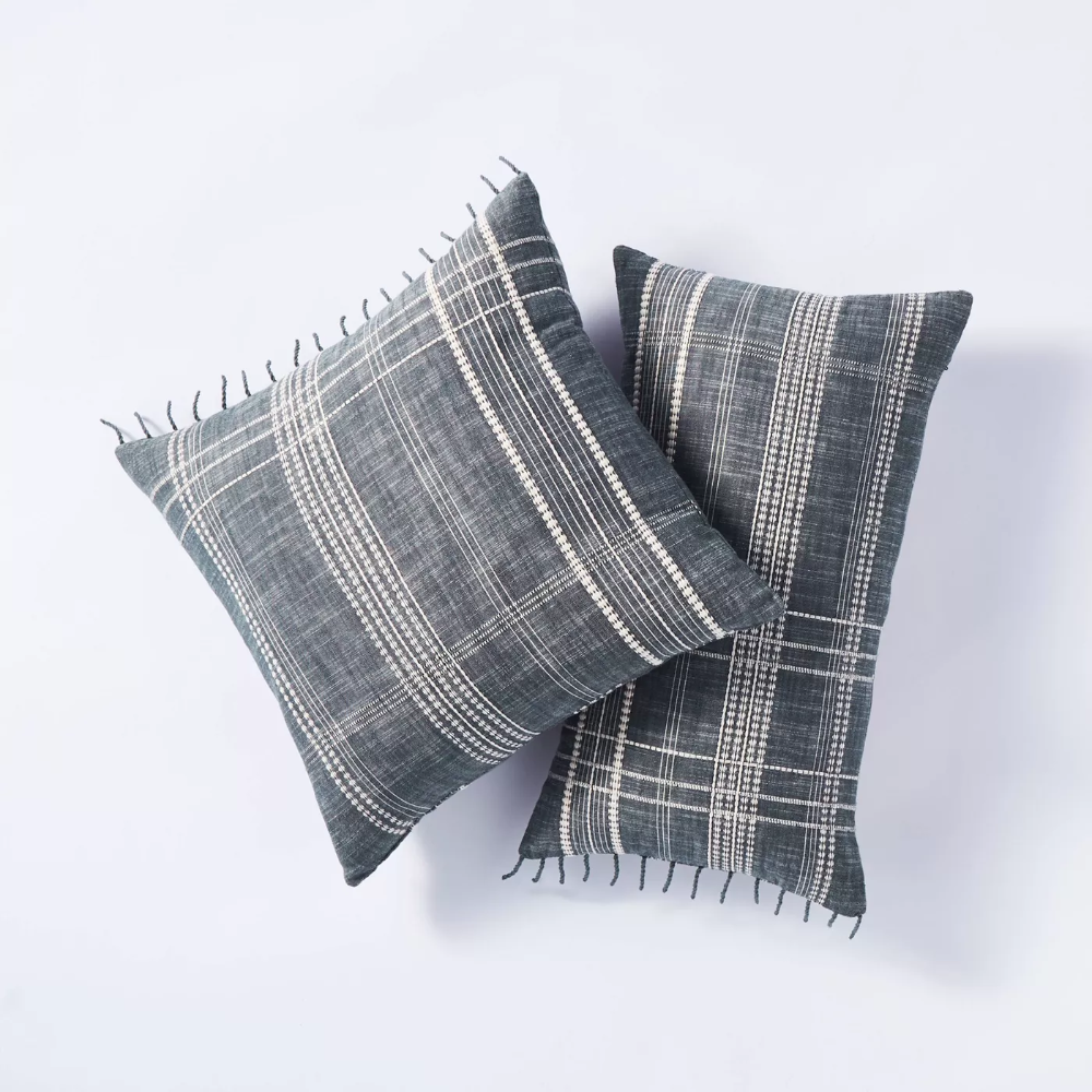 Pin By Melissa Weinberg On Entryway Plaid Pillow Blue Throw Pillows Studio Mcgee