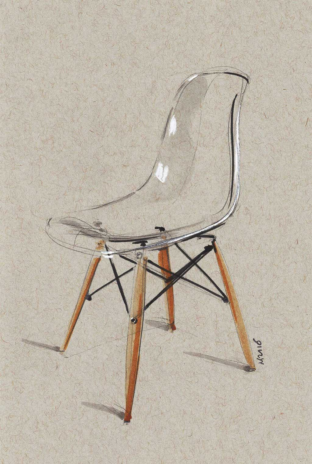 Chair sketch Quick 10min sketch of transparent Eames Less lines