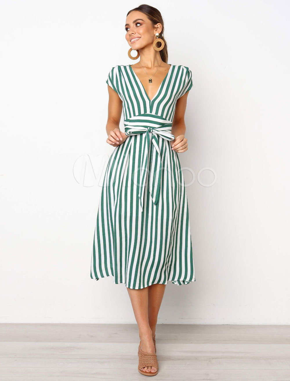Striped Summer Dresses Plunging Cap Sleeve Tie Waist Long Dress Summer Dresses Striped Dress Summer Long Striped Dress [ 1316 x 1000 Pixel ]