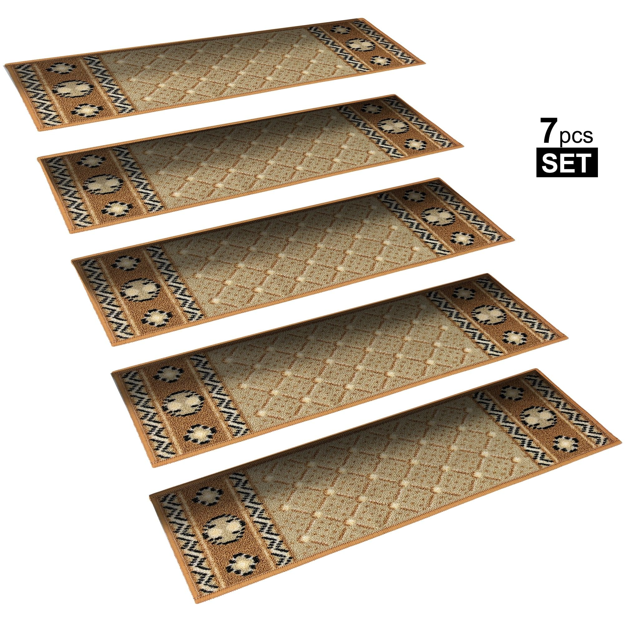 Non Slip Mats Rubber Backing Stair Treads Set Of 7 8 5 X 26
