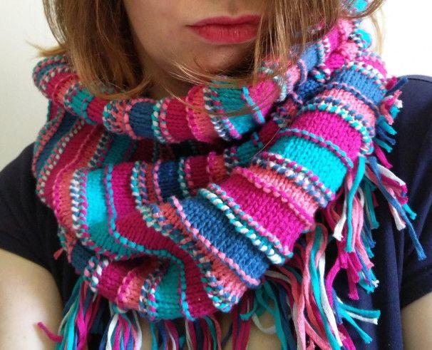 tricoter un snood en coton