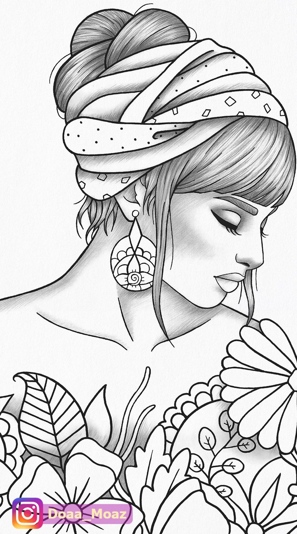 Printable Coloring Page Girl Portrait And Clothes Colouring Etsy Art Drawings Sketches Creative Coloring Book Art Art Drawings Sketches Simple