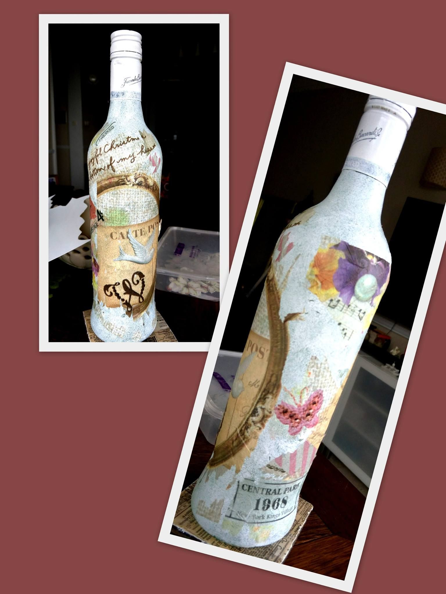 Recycled Upcycled Bottle A Bottle Gets A Makeover With Decoupage Paper Base Of Primer Blended Colours And V Decoupage Paper Handmade Gifts Decoupage