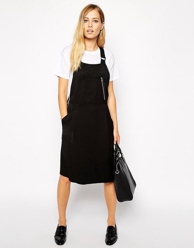 5559c908b1a BNWT Whistles Dungaree dress UK 8 10 12 Black Luxe linen blend pinafore  trend