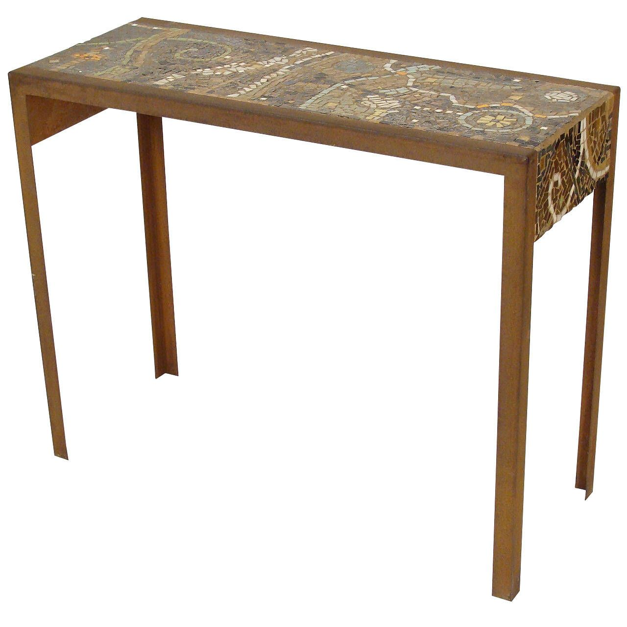 Captivating Mosaic Tile Top Console Table