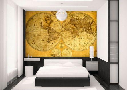 Bedroom World Map Wall Decor Design | charming ♥ | Pinterest | Wall ...