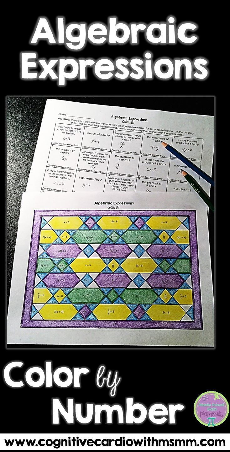 Algebraic Expressions Activity Color By Number Algebraic