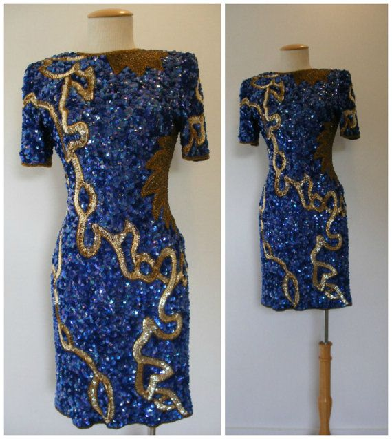 Vintage 80s bodycon sequin dress by Laurence Kazar. Iridescent blue ...