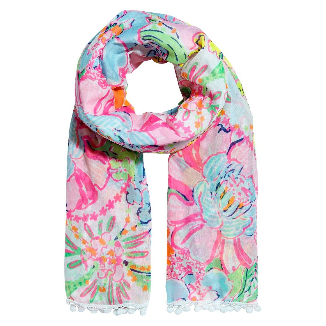 Lilly Pulitzer for Target Women's Scarf with Pompoms ...