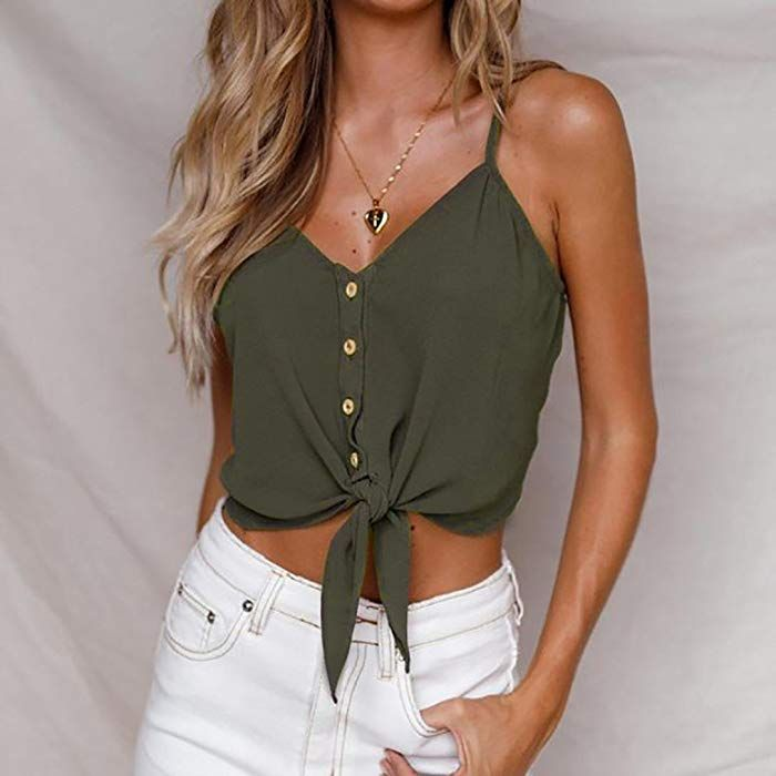Frauen Knopf ärmelloses Crop Top Weste Tank Shirt Bluse Tops