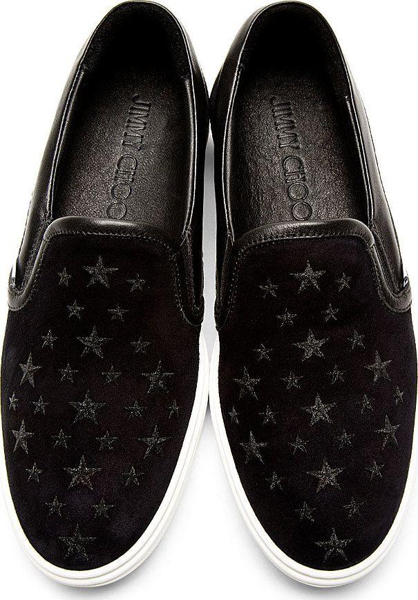 bd7d43b9009 Jimmy Choo  Navy Black Suede Grove Slip-On Shoes