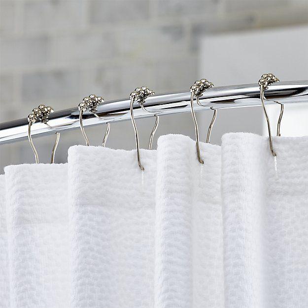 Set Of 12 Polished Nickel Shower Curtain Roller Rings Shower