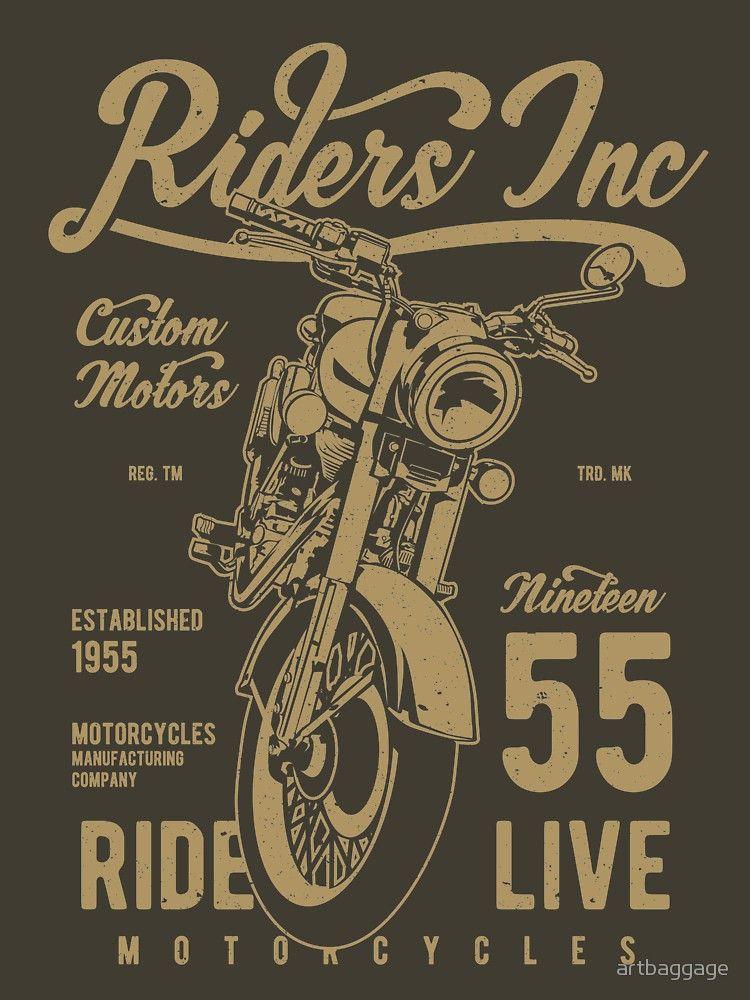 'Riders Inc Custom Motors Motorcycle Vintage T-shirt' Classic T-Shirt by artbaggage