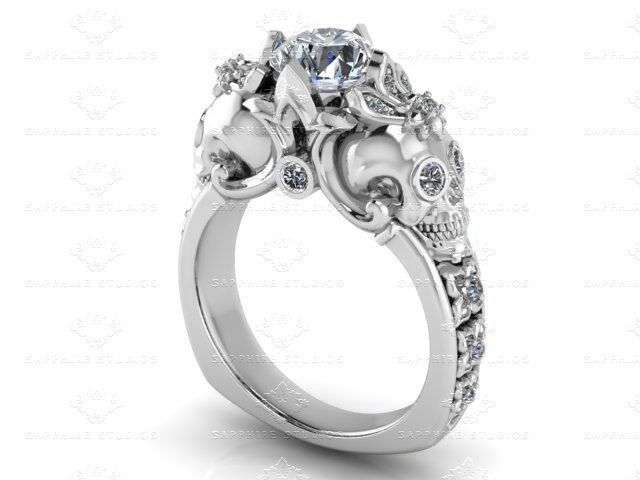 Gothic Engagement Ring Wedding Rings Skull Designs