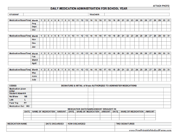 A Form On Which School Nurses Or Health Aides Can Track Medication