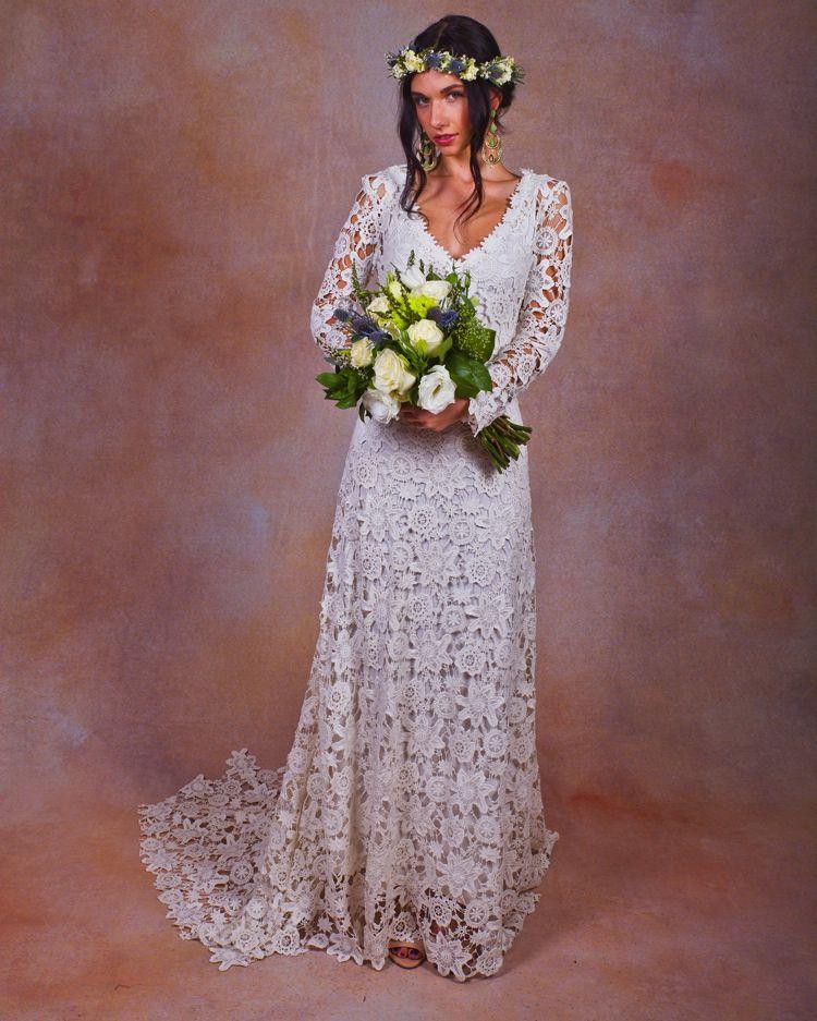 Crochet Long Sleeve Wedding Dresses