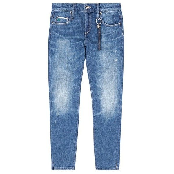 Tortoise 'Chely' low rise cropped skinny jeans ($311) ❤ liked on Polyvore featuring jeans, blue, destructed skinny jeans, ripped jeans, destroyed skinny jeans, distressed cropped jeans and ripped blue jeans