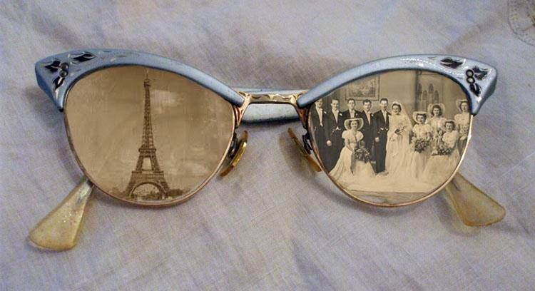 623c1811999d Old photos framed in vintage eyeglasses. Place paper over each lens- trace  size   shape. Cut to required shape - place behind lenses seal with hot  glue.