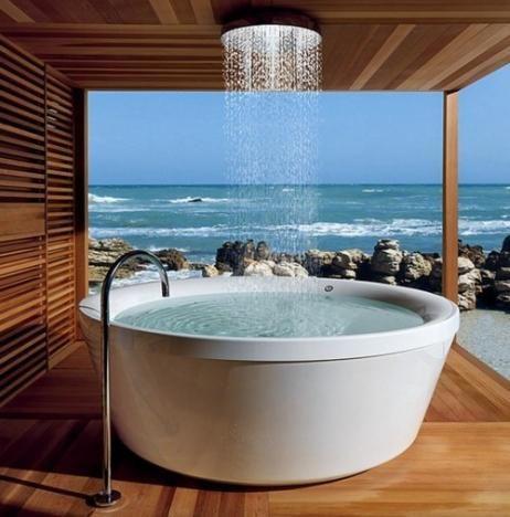 Modern Bathroom, Ocean View, Bathroom With A View, Round Tub