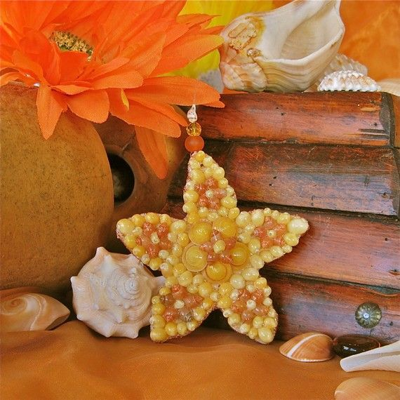 Yellow Seashell Flower Sea Star Ornament by SeaPosie on Etsy, $25.00