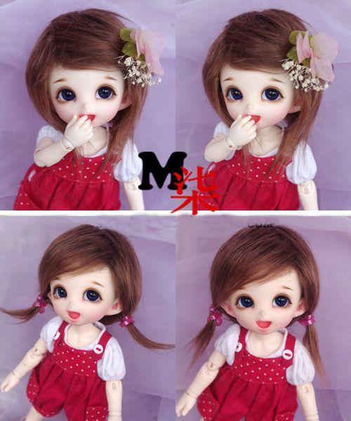 "5-6/"" 14cm BJD fabric fur wig Black short hair for AE PukiFee lati 1//8 Doll"