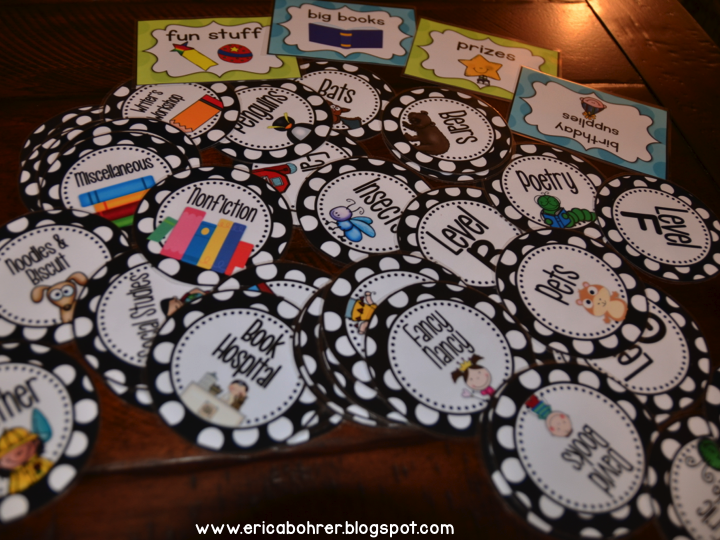 Classroom Labeling Ideas : Classroom library labels erica s ed ventures black
