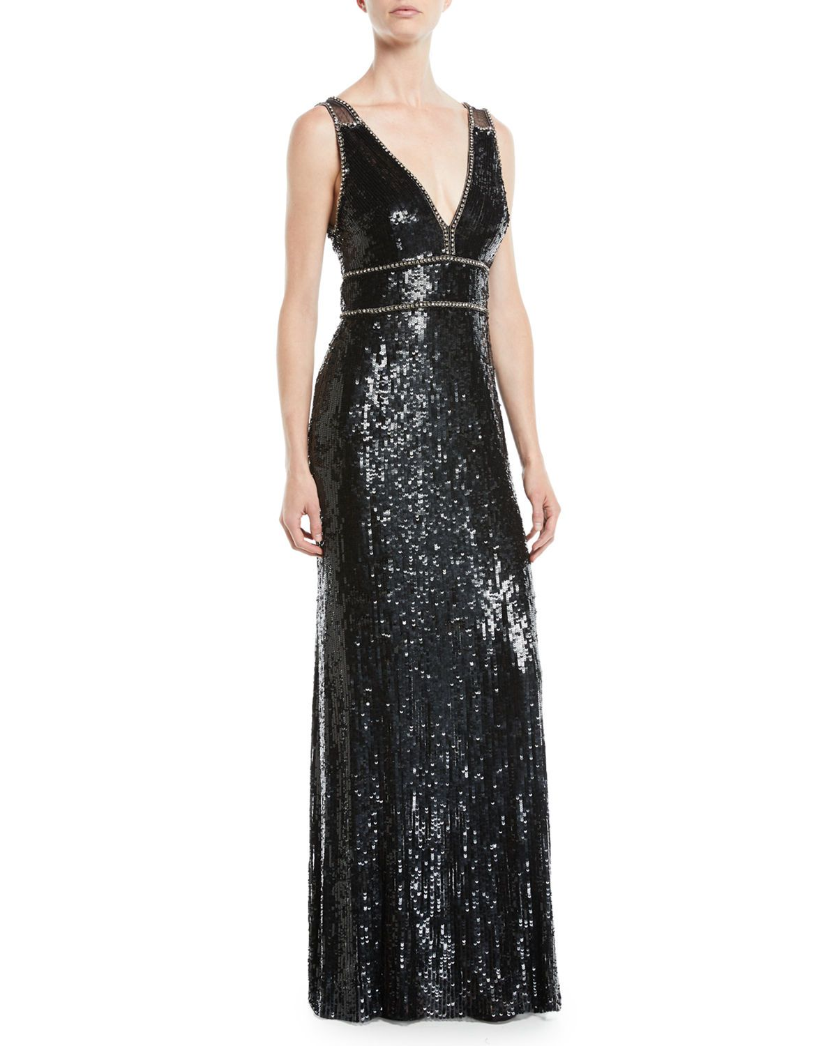 28991f81570c Jenny Packham Deep V-Neck Sequin Gown | Neiman Marcus | Fashion in ...