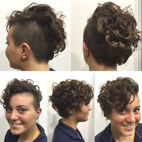 Women S Short Curly Hairstyle With Side Undercut Short Curly Hairstyles For Women Short Punk Hair Short Curly Hair