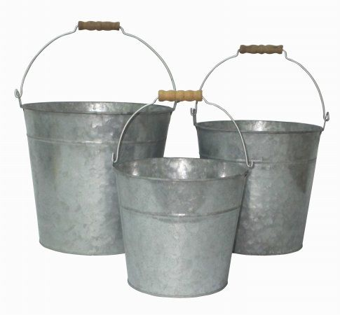 Set of 3 Galvanized Metal Bucket with Natural Wood Grip Handle ** More info could be found at the image url. (Note:Amazon affiliate link)