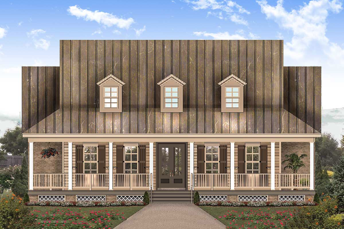 Plan 58622sv Charming 3 Bed Southern House Plan With Front And Back Porches Southern House Plan House With Porch Barn House Plans